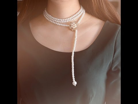 How to Make a Handmade Multi strand White Pearl Bead Necklace at Home