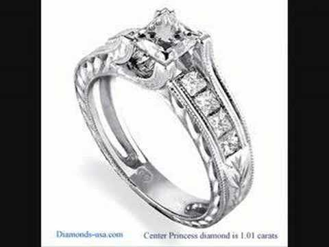 Hand engraved diamond  engagement ring  by Diamonds-usa.com