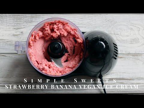 3 Ingredient Strawberry Banana VEGAN Ice Cream