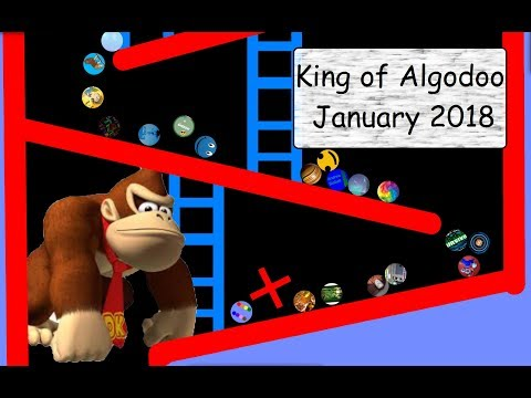 Marble Race King of Algodoo January 2018 (with Donkey Kong)