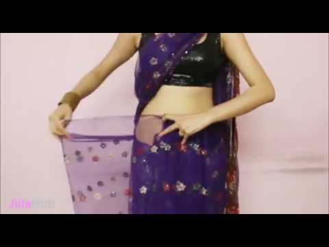 How To Wear Indian Saree:Designer Sari Wrapping With Backless Choli 2014 Pattern