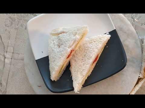 Cucumber/tomato Sandwich Recipe in Hindi - कुकुम्बर सैंडविच रेसिपी by GTK