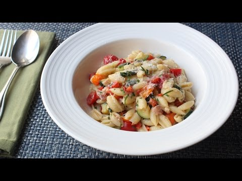 Summer Vegetable Cavatelli with Fresh Corn Cream - Summer Pasta Recipe