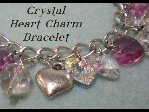 Crystal Heart Charm Bracelet Tutorial