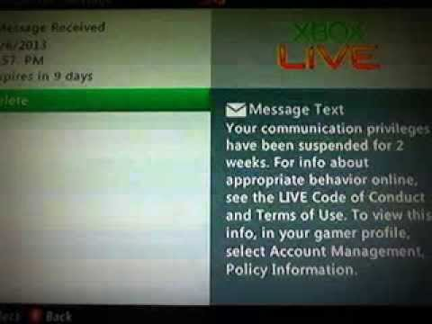 suspended from xbox live for 2 weeks