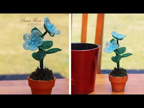 French beaded flowers: mini potted flowers project