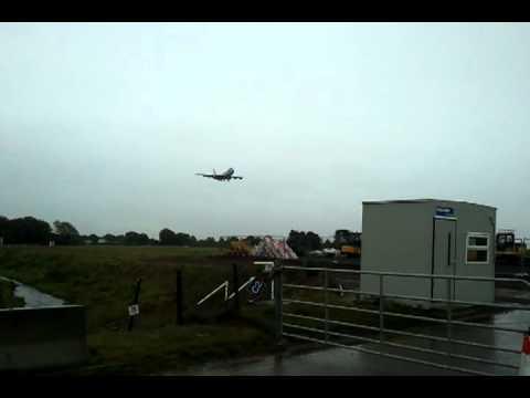 Air Force One lands in Dublin, Ireland. Barack Obama visits Ireland