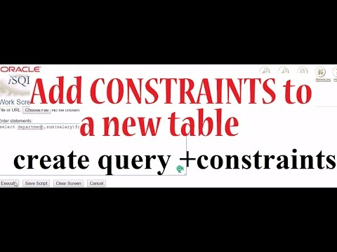 ADD CONSTRAINTS to a new table