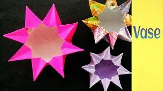 Origami Paper Flower Vaselantern 8 Points Diwalichristmaseid Decorati