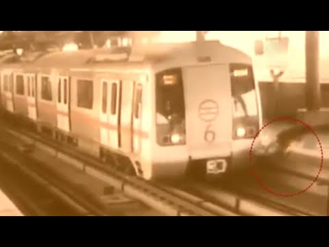 Delhi Metro: Narrow escape for Man who tries to cross track; Watch Video | Oneindia News