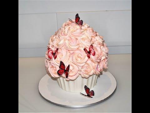 Cake decorating tutorials   how to make a giant cupcake cake   Sugarella Sweets