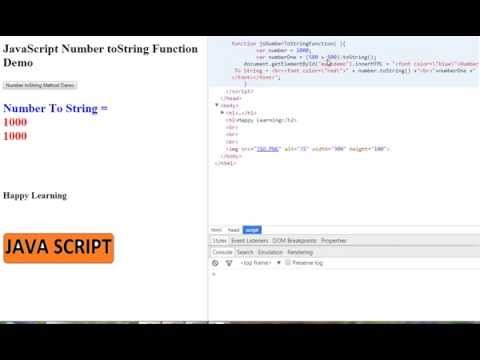 HOW TO CONVERT NUMBER TO STRING IN JAVASCRIPT DEMO