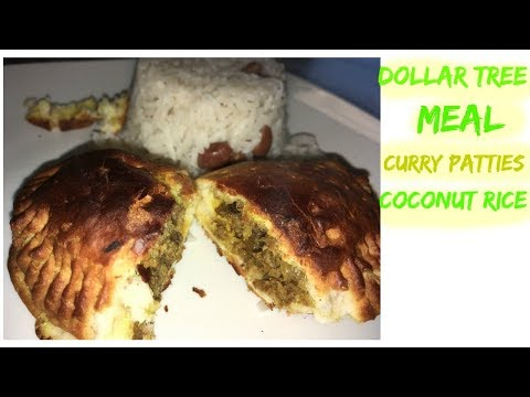 DOLLAR TREE DIY CURRY TURKEY PATTIES | COCONUT RICE |COOKING