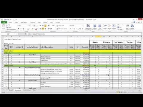 Lesson 8 part 2 create resource loading sheet on excel