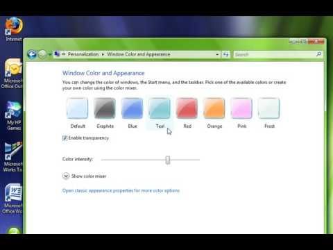 Change your taskbar and window color(Vista)