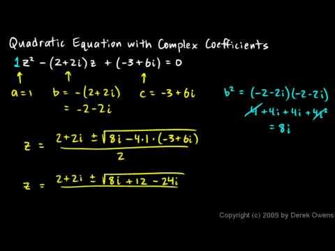 Precalculus 12.1a - Complex Quadratic