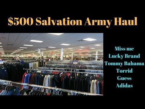 $500 Salvation Army Haul Thrifting Trip. Make money on Ebay.  Miss Me, Adidas, Lucky Brand