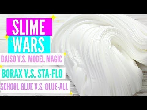 SLIME WARS! BORAX VS STA FLO, DAISO VS MODEL MAGIC, SCHOOL GLUE VS GLUE-ALL, CLEAR GLUE VS GEL GLUE!