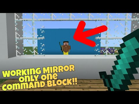 MCPE 1.2 Only one command: Working Mirror!! Minecraft pe command block creation