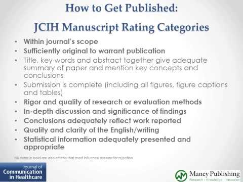 Getting Published in Health Communication Journals: Focus on JCIH