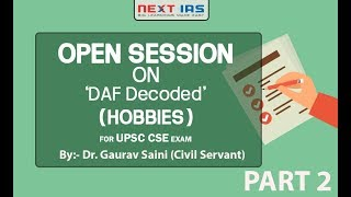 Open Session on DAF Part-2 (Hobbies)