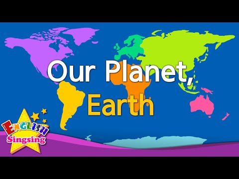 Kids vocabulary - Our Planet, Earth - continents & oceans - English educational video for kids