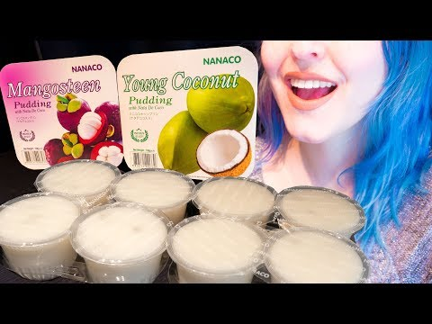 ASMR: Chewy Fruit Pudding w/ Mangosteen & Coconut | Thai Pudding ~ Relaxing Eating [No Talking|V] 😻