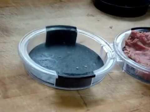 85 Molding 5+ pounds ground beef into Salisbury steak with hamburger press