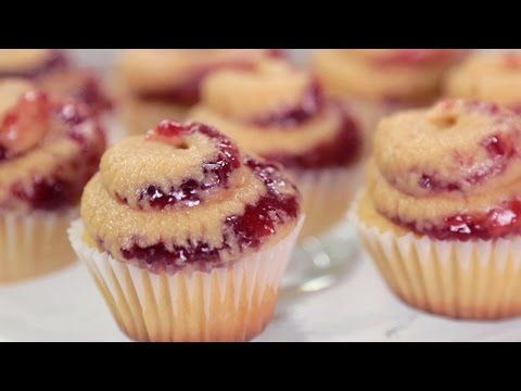Peanut Butter & Jelly Cupcakes - Crusts Removed | Just Add Sugar