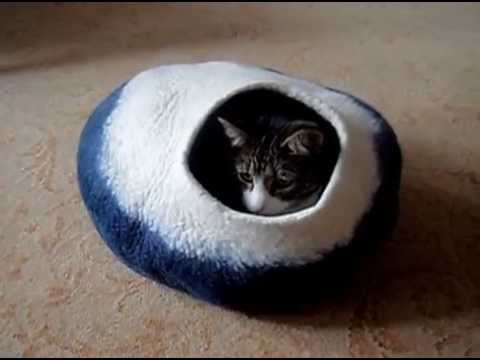 Felted Cat Bed Cat Nap Cocoon from LoveCatCaves