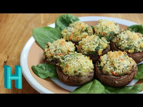 Spinach Stuffed Mushrooms | Hilah Cooking