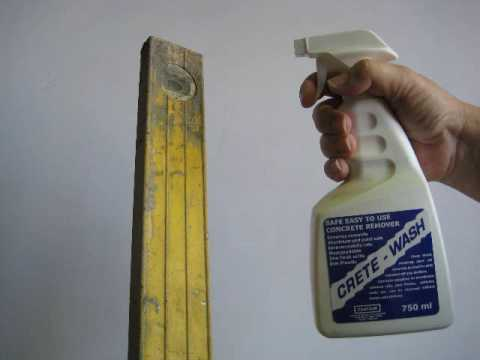 Crete-Wash removes concrete from tools & polished aluminium safely