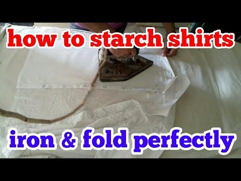 How to  starch shirts  iron & fold perfectly. Hindi .( shirt ironing & fold )