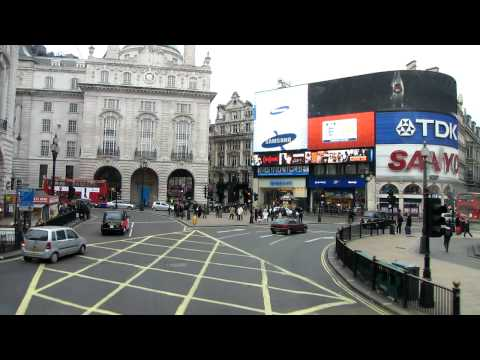 Piccadilly Circus to Regent street from bus - London  HD (add &fmt=22 to url) 57