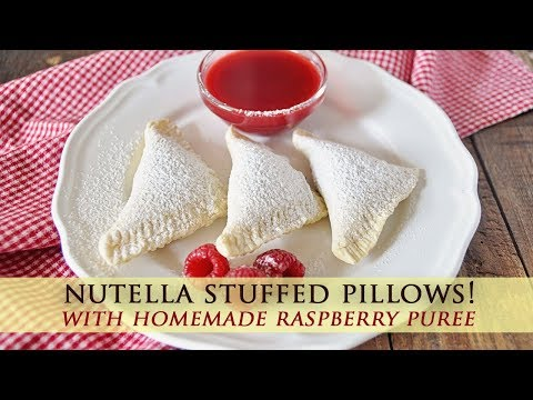 Nutella Stuffed Pockets with Raspberry Puree