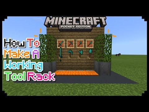 HOW TO MAKE A WORKING TOOL RACK IN MCPE 1.2.5/1.2/1.1 | MCPE CREATION | NO MODS