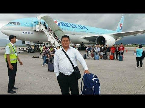 Korean Air landing in Nepal airport.
