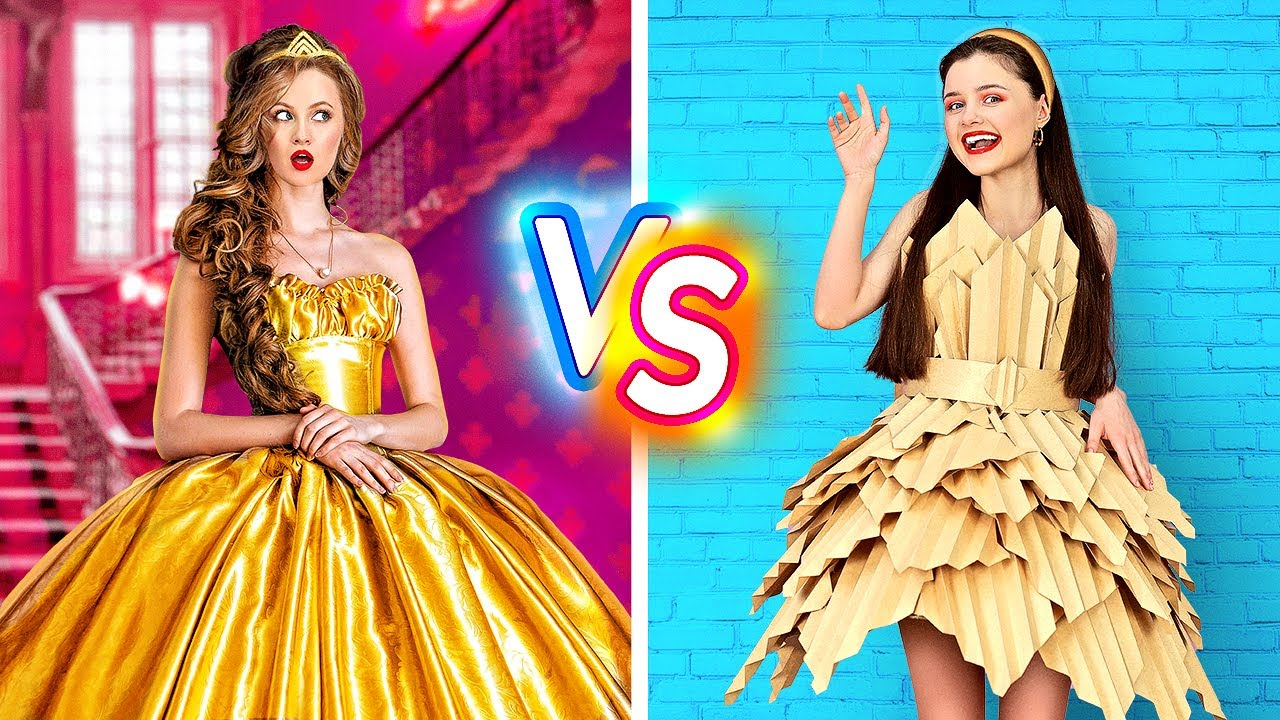RICH PRINCESS VS BROKE PRINCESS || Popular Girl VS Poor Nerd! School Life 24 HOURS By 123 GO! BOYS