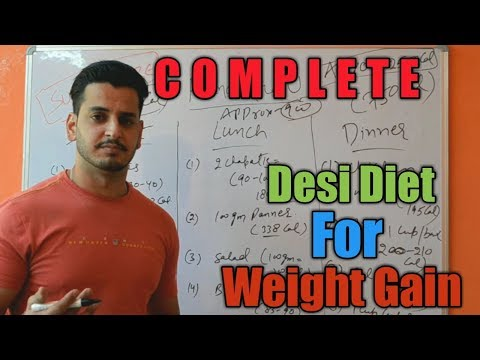 Desi Diet Plan For Weight Gain | Gain Pure Muscle Mass|Hindi|2600-3000 Calories|
