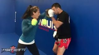 THROW THEM BOWS! JOANNA JEDRZEJCZYK LIGHTS UP THE MITTS W/ELBOWS & WARNS ROSE SHE WILL CUT HER UP!