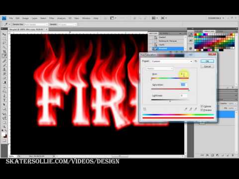 Fire and flame font text design tutorial in adobe photoshop cs4