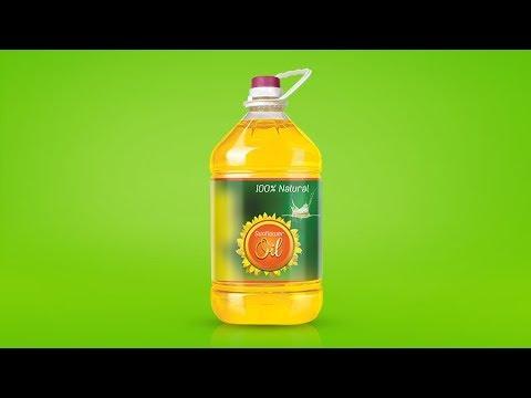 Vegetable Cooking Oil Bottle Label Design - Photoshop Tutorial