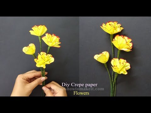 How to make #paperflowers from crepe paper, how to make flower vase out of waste