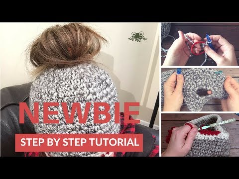 How to Crochet a Messy Bun/Polytail Hat for Beginners