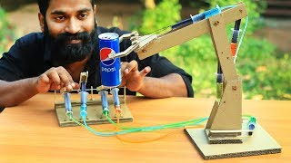 How To Make Hydraulic Robotic Arm | ഒരു കുഞ്ഞി ക്രെയിൻ ഉണ്ടാക്കിയാലോ | M4 Tech |