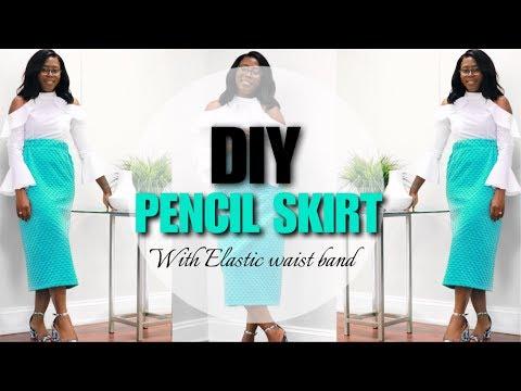DIY PENCIL SKIRT | ELASTIC WAIST BAND