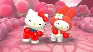 Hello Kitty and My Melody singing about the color red