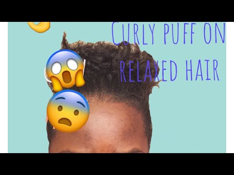 Curly puff on Short relaxed Hair