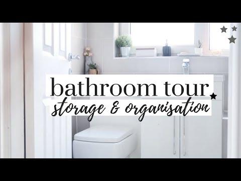 SMALL BATHROOM TOUR AND ORGANISATION | MINIMALIST GREY BATHROOM UK