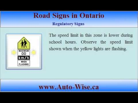 Ontario Driving Test G1 - Road Signs  - 1 (Regulatory Sign )